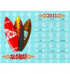 aloha calendar 2011 vector image vector image