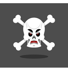 Angry skull emotion Crossbones Aggressive skeleton vector image vector image