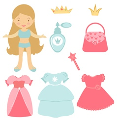 Blond princess paper doll vector image