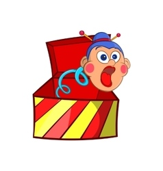 Box jumping with toy icon cartoon style vector image vector image