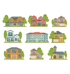 Buildings Flat Icon Set vector image vector image