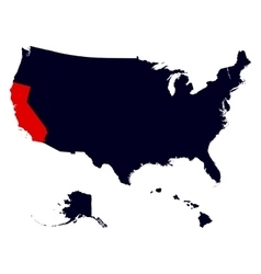 California State in the United States map vector image vector image