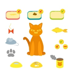 cat set flat vector image