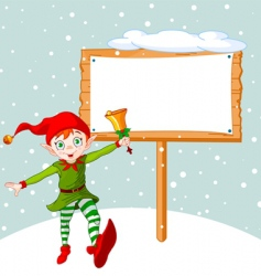 Christmas elf and billboard vector image vector image