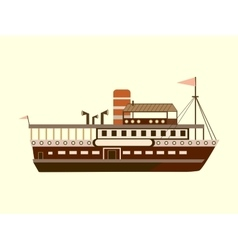 Color little retro steamer vector