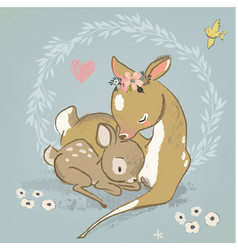 cute deer with a child vector image vector image