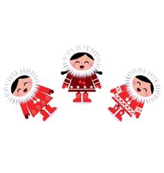 cute eskimo children vector image vector image
