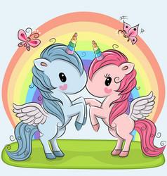 Cute unicorns on a rainbow background vector
