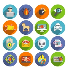 Hacker icons flat set vector image vector image