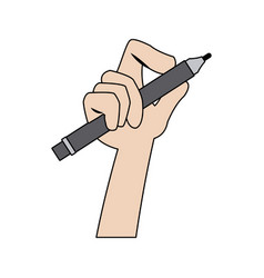 Hand holding pencil utensil supply work vector