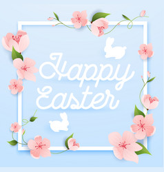happy easter greeting card with flowers and rabbit vector image vector image
