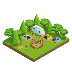 Hiking isometric composition vector