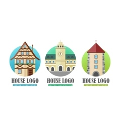 House logo web buttons set vector