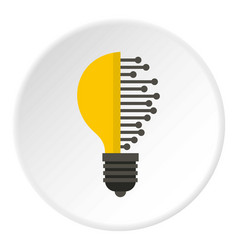 Lightbulb with microcircuit icon circle vector