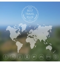 Map on blurred background vector image vector image