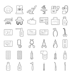 Medical tools equipment icons set outline style vector