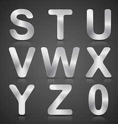 Metallic Silver Alphabet Set vector image