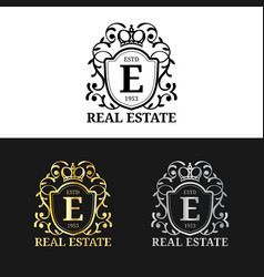 Real estate monogram logo templates luxury vector