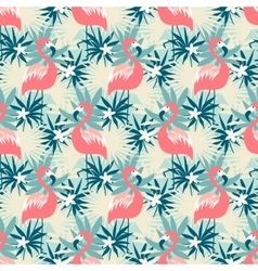 Seamless pattern with flamingo and tropical plants vector