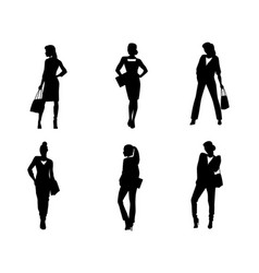 Six businesswomen silhouette vector