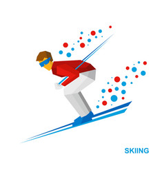 skiing cartoon skier running downhill vector image vector image