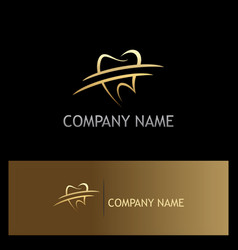 Tooth dentist gold logo vector
