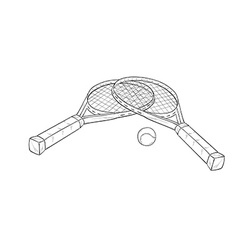 Two tennis racquets and ball sketch vector