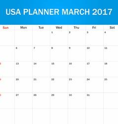 Usa planner blank for march 2017 scheduler agenda vector