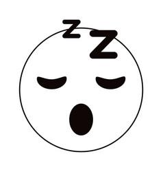 sleepy emoticon funny thin line vector image