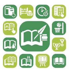 color school icon set vector image