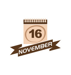 16 november calendar with ribbon vector