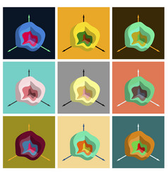 Set of flat icons on stylish background graph vector