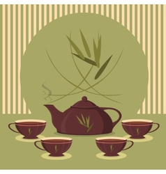 Vintage tea set on the background of the strips vector