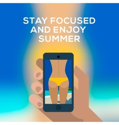 Beach concept hand holding smartphone and make vector