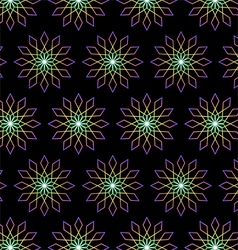 Modern bloom and rhomboid pattern on black vector