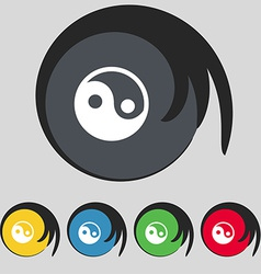 Ying yang icon sign symbol on five colored buttons vector