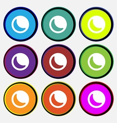 Moon icon sign nine multi-colored round buttons vector