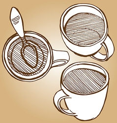 Set of coffe mugs drawing sketch style vector
