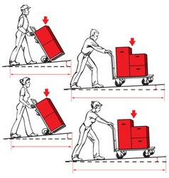 Safety at work - pushing hand trucks vector