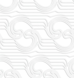 Paper white waves mirrored with swirls vector