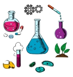 Science research and experiment elements vector