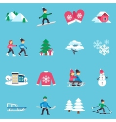 Winter flat icons set vector