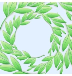 Circular frame of green branches and leaves vector