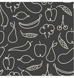 Seamless pattern made of one line fruits vector