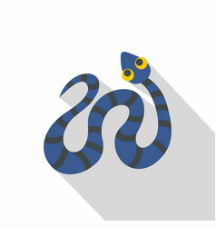Blue snake with black stripes icon flat style vector