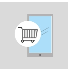 buying cart smartphone mobile design vector image