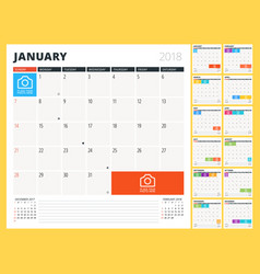 calendar planner for 2018 year design template vector image vector image
