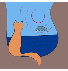 Cat watches for a fish on sunrise vector