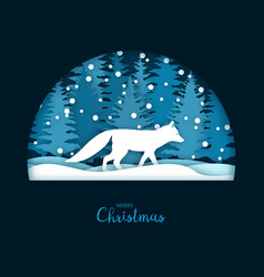 Christmas card with a running white fox vector