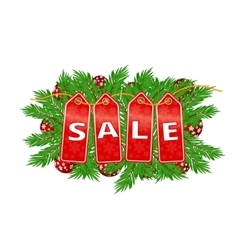 Christmas sale banner fir tree branches with vector